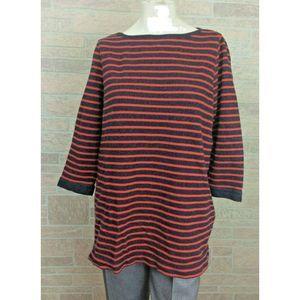 Land's End Dark Blue Red Striped Knit Top Shirt